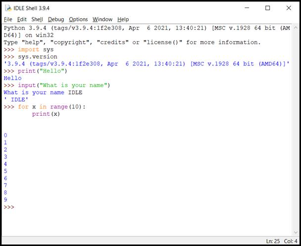 IDLE IDE screenshot