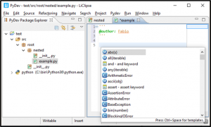 PyDev IDE screenshot