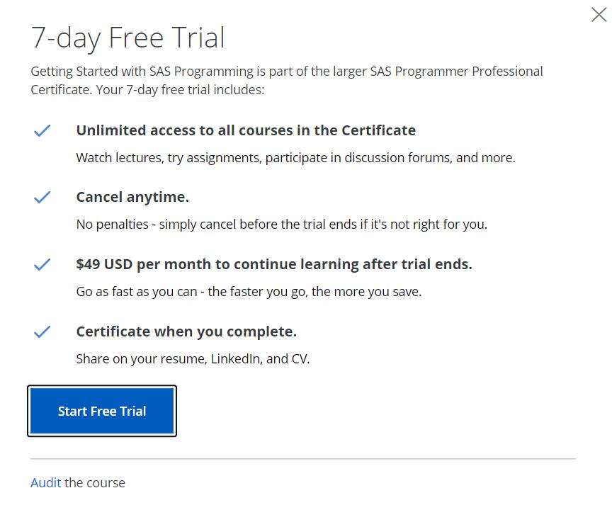 coursera audit course option