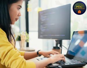 asian woman programming