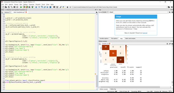 spyder ide screenshot, might not be the best python ide for data science for new users who want to get going quickly.
