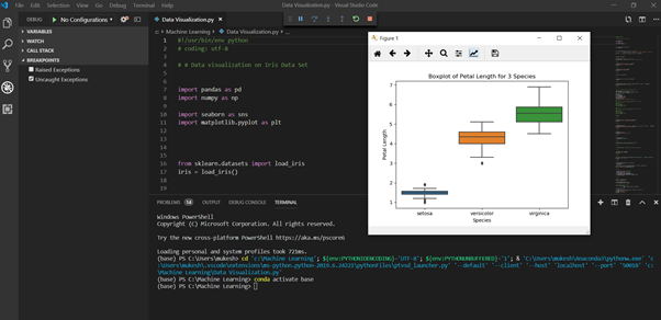 visual studio screenshot, top python ide for data science in terms of having premium features that are free.